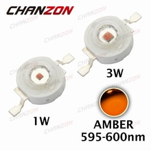 CHANZON 10pcs High Power LED Chip 1W 3W SMD COB LED Diode Lamp Light Amber Epistar 595nm - 600nm DC 2V  Integration DIY Bulbs