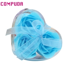 My House 3Pcs  Scented Rose Flower Petal Bath Body Soap Wedding Party Gif  2017 New Hot Sell 17Mar6