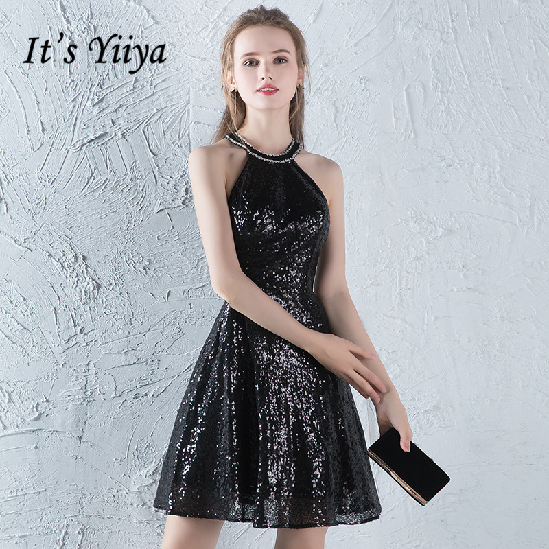 It's YiiYa Black Cocktail Dresses Sleeveless Fashion Sexy Backless Bling Sequined High Quality Luxury Party Dress LX754