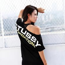 New Summer Loose Off-Shoulder Letter Printed Women Short Sleeve Sports Gym Fitness Running Quick Dry Yoga T Shirt Tops(China)