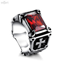 eejart men's steampunk Rings 316L Titanium steel cross AAA Zircon Red Gem Finger Ring Stone Fashion men Jewelry bijouterie
