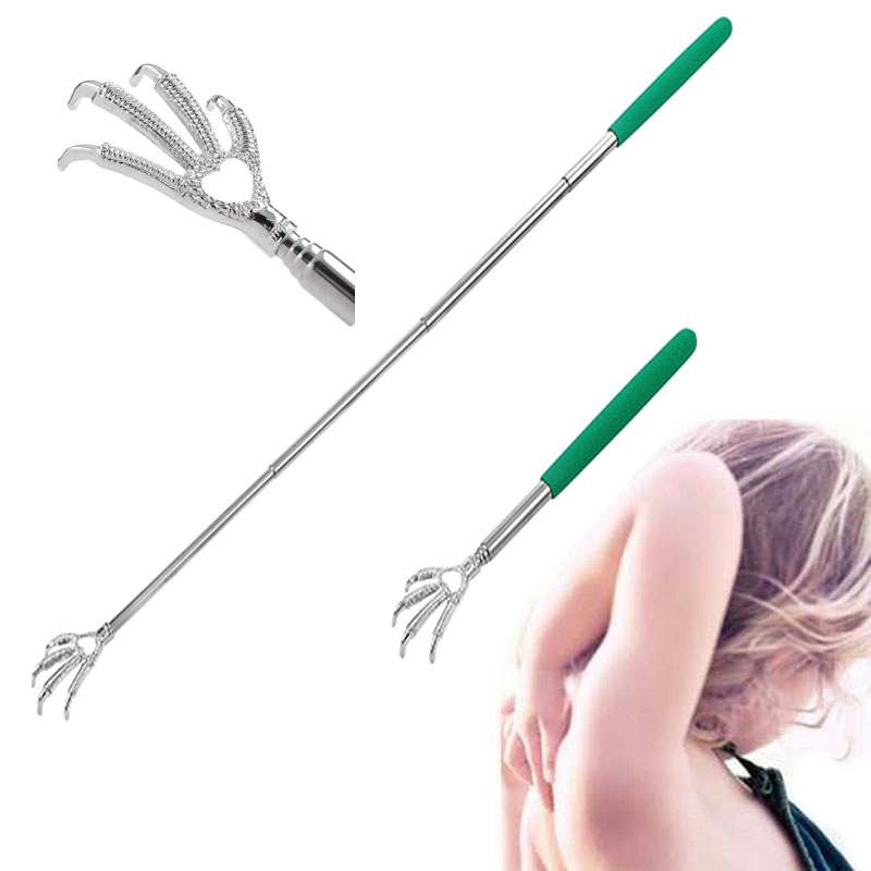hand body back massager Handy Stainless Pen Clip Back Scratcher Telescopic Pocket Scratching Massage Bear claw back scratcher(China)