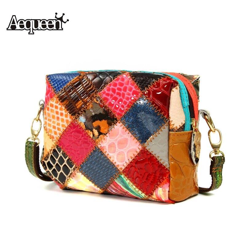 Genuine Leather Womens Shoulder Messenger Bags Vintage Flap Single Crossbody Lady Girl Handbag Patchwork Bag Fashion Design<br><br>Aliexpress