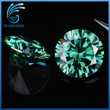 Mint green color 5.0mm 0.5ct round brilliant cut green moissanites gem stone for rings making jewelry(China)