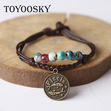 Ceramic Beaded Charm Bracelet Wax Rope Bracelet Bangle With Constellation Pendant Zodiac Astrological Sign Horoscope Cancer(China)