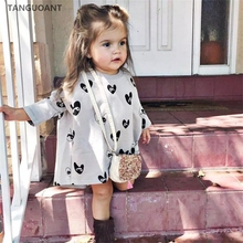TANGUOANT kids dresses, new style infant children long sleeve dress, cartoon love eyes printed baby girls asymmetric dress(China)