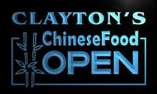 x0252-tm Clayton's Chinese Food Restaurant Custom Personalized Name Neon Sign Wholesale Dropshipping On/Off Switch 7 Colors DHL(China)
