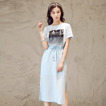 Summer dress Trend New Product Short Sleeve Fashion Personality Printing Round Neck Long Fund Dress M16139