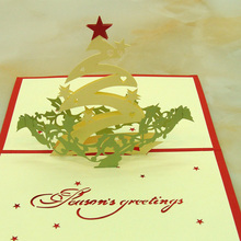 10pcs/lot Laser Cut Wedding Invitations 3D Cubic Christmas Star Greeting Card Cartoon Christmas Cards
