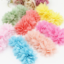 Free Shipping 20PCS/Lot Floral Chiffon Flower Button Patch Sticker Crafts Fit for Toddler Kids Headband Girls Hair Jewelry DIY