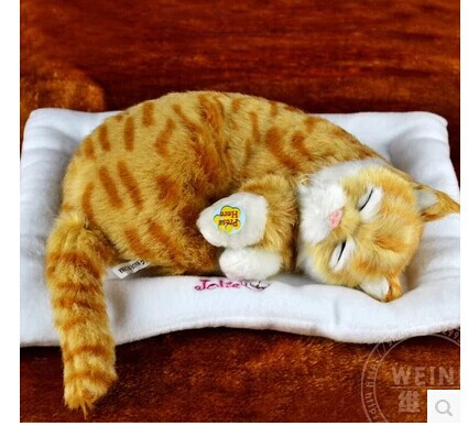 about 30cm simulation cat plush toy Electric breathing purr voice cat birthday gift w9048<br>