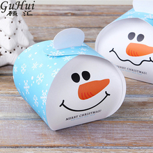 50Pcs Lovely Cartoon Christmas Snowman Santa Claus Design Candy Box DIY Dessert Nougat Apple Packaging Gift Bag Party Decoration(China)