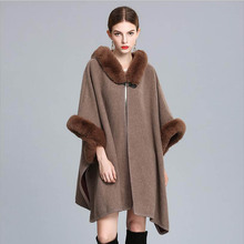 Top grade Women Luxury shawl Faux fur hooded ponchos Autumn Winter thick warm outwear Free shipping(China)