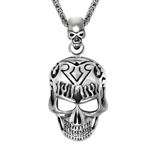 Retro Punk Hip Hop Silver Tone Stainless Steel Skull Pendant Necklace 60CM SS Chain 02