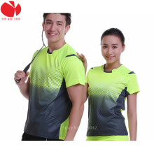 Green Sportswear Quick Dry breathable badminton shirt , Women / Men table tennis shirt clothes team game short sleeve T Shirts