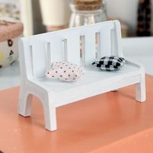 New Fasion Miniature Dollhouse furniture accessories Wooden Garden Chair Outdoor Chair Park Bench Photo Props Home Decor(China)