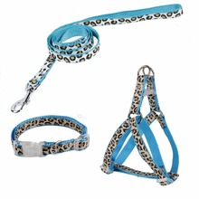 Super Hot Dog Collar Set Leopard Pet Leash Harness Collar Control Pet Running Training Outside Adjustable Blue Pink 3 Sizes