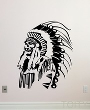 Native American Wall Decal Feather Indian Chief Vinyl Sticker Home Interior Living Room Decor Retro Art Mural
