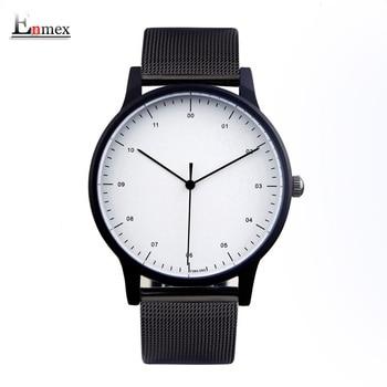 2017 presente enmex estilo cool relógio de pulso voga breve simples e elegante com o rosto preto e branco de aço banda quartzo relógio de forma