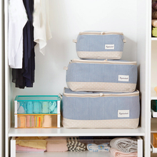 Cotton & Linen Striped Storage Bag Handle Stackable Clothing Quilt Bedding Storage Box Household Sorting Pouch Organizer