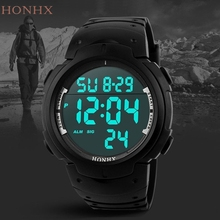 HONHX Fashion Waterproof Watch Men's Boy LCD Digital Stopwatch Date Rubber Sport Wrist Watches Hot 161124