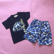 Clearance Specials Children clothing kids summer clothes boys 2pcs casual set cartoon dinosaur tops + pants infantil cotton suit