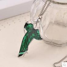 2017 Trendy The Hobbit Vintage Elf Green leaf necklace pendant Pin Lord of the Rings Ne (cklace) wholesale