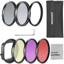 Neewer 52MM Filter Kit for Gopro Hero 3+/4:(6)Filters (UV+CPL+FLD+ND4+Yellow+Red)+52mm Lens Filter Ring Adapter+Cleaning Cloth