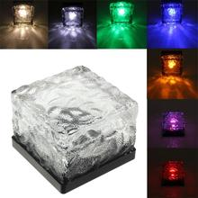 Led Solar Lawn Lights Led Buried Outdoor Night Lamp Waterproof Ice Brick Solarpowered Lamp Garden Path Fence Energysaving Lamps(China)