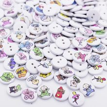 100Pcs 2 Holes Round Baby Painting Wooden Buttons For Kids Sewing Scrapbooking 15mm DIY 2015 New Sewing Accessories Kids Button(China)