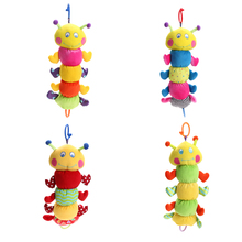 Lovely Plush Insect Caterpi Baby Rattle Toy Infants Pull Ring Doll Cute Crib Stroller Hanging Doll Hand Grasp Music Toy(China)