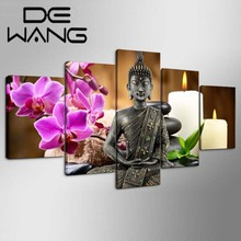 Buddha Painting Modern Wall Painting Art Flower Stone Picture 5 Panel Framed Prints Paint On Canvas Home Decor For Living Room(China)