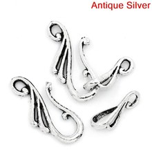 Doreen Box Lovely Toggle Clasps Hook Antique Silver 25.5x12mm 16x8mm,50 Sets (B25384)