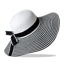 MAKE Hot Charming Bowknot Design Foldable Black & White Stripe Splicing Straw Hat Sun Hat For Women(China)