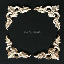 4 pcs Europe Antique Wood Carving Irregular Flowers Decorative Appliques Cabinet Door Furniture Frame Solid Wood Figurine Crafts(China)