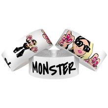 300pcs One inch silkscreen printed MONSTER wristband silicone bracelets free shipping by FEDEX express(China)