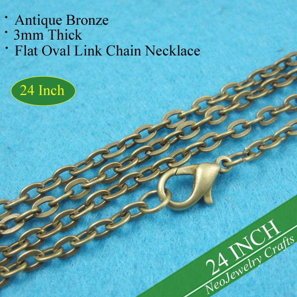 24 inch Antique Bronze Rolo Chain Necklaces, 60cm Brass Rolo Chain Necklace, Vintage Brass Chain, 24 Inch Necklace Chain