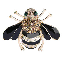 2018 Hot Sale High Quality Bees Brooch Black Enamel Corsage Hats Scarf Clips Accessories Green Eyes Brooches For Woman Party(China)