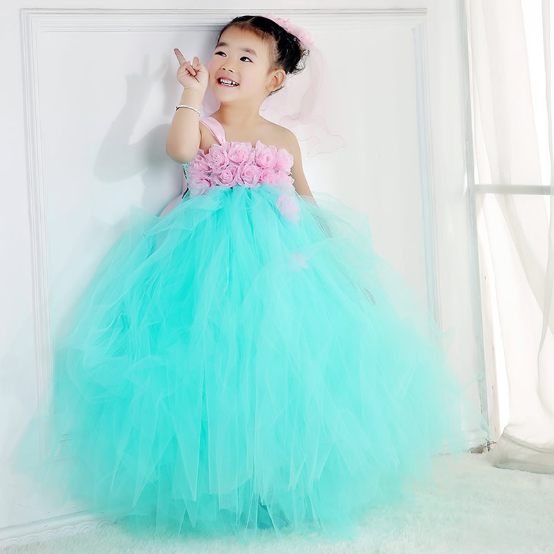 2018 Top quality And Fashion Flower Girl Dresses Turquoise Green Flower 2-12Year Pretty Draped Ball Gown Wedding Party BaBy Prom<br>