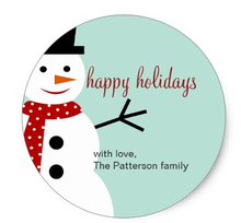 3.8cm Smiling Snowman Holiday Favor Stickers