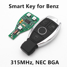 Free shipping 3 Buttons Car Smart Remote Key For Mercedes Benz year 2000+ NEC&BGA style Auto Remote Key Control 315MHz/433MHz(China)