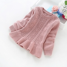 2016 new winter children's clothing 2-5 years girls solid color cotton knit sweaters girls' cotton sweaters b8019
