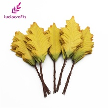 Lucia crafts 24pcs/lot Artificial Leaf Silk Cloth Green Leaves Florist DIY Home Party Wedding Decorative Accessories 086020071(China)
