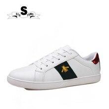 Unisex Men Sneakers Women Skateboarding Shoes Outdoor Bee Sport Shoes For  Men PU Leather Shoes White Shoes 2018 Zapatillas 98 4eb06d73669e
