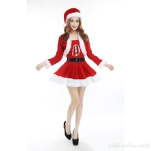 Women Sexy Christmas Clothing For Girl Santa Claus Play Red Winter Warm Mini Short Pleated Dress Australia New Year Cheap Shirt(China)