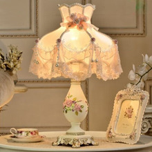 European style lamp warm living room decorative lamp Vintage Wedding bedroom bedside lamp table(China)
