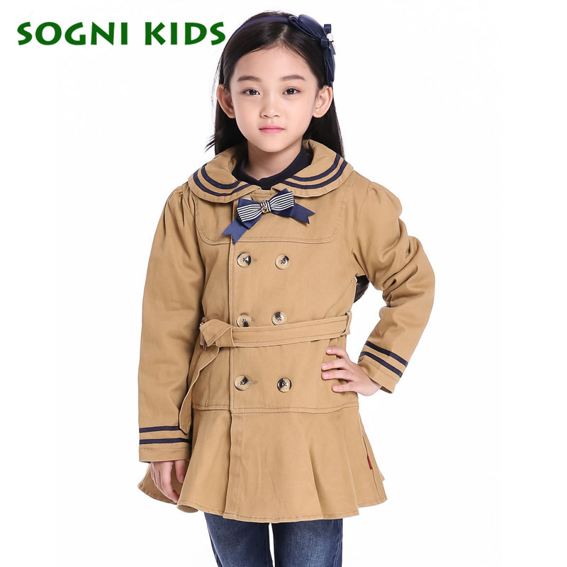 Girls Trench Coats Children Khaki jacket Double Breasted belt wind coat outwear Bow Lotus leaf Skirt hem Kids girls windbreaker<br>