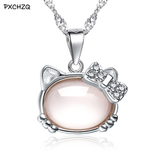 PXCHZQ New fashion popular women silver color necklace pendant temperament classic pink Hello Kitty pendants jewelry(China)