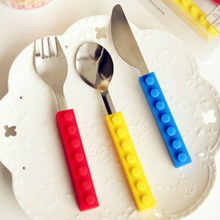 Creative Lego bricks Portable silicone stainless steel Travel Kids Adult Cutlery Fork Picnic Set Gift for CHild Dinnerware(China)
