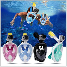 Underwater Anti Fog Diving Mask Snorkel Swimming Training Scuba mergulho 2 In 1 full face snorkeling mask For Gopro Camera(China)